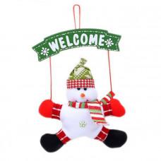 """Новогоднее украшение на дверь """"Снеговик"""""""