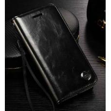 Чехол Кожаный на Apple iPhone 6 и 6s (Черный)